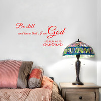 Wholesale Europe Christian - Christian Quote Be Still and Know that I am GOD Psalm Vinyl Wall Decal Art Decor Sticker for Living Room