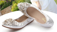 Wholesale Diamond Silver Heels For Wedding - 2016 women's shoe leather soft bottom cone beef tendon end of small yards 31 32 33 diamond 42 big yards for women's shoes with flat 41
