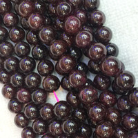 "Wholesale Natural Flowers Bracelets - Discount Wholesale Natural Red Garnet Round Loose Stone Beads 6mm-10mm Fit Jewelry DIY Necklaces or Bracelets 16"" 04276"