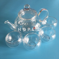Wholesale Double Walled Teapot - Borosilicate Glass CLear Teapot Tea Set Double wall Cups Teacup Herb Tea Strainer Filter Infuser TeaBag flower tea Coffee tools