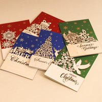 Wholesale Wooden Postcards Wholesale - Wholesale- Handmade Merry Christmas Carved wooden Greeting Cards Creative Paper Envelope Custom DIY Gifts Souvenirs Postcards 5PCS lot CC