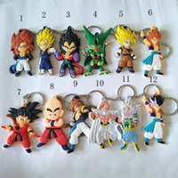 Wholesale Kid Goku Figure - 2017 Cute Dragon Ball Toys Goku action figures Soft PVC Double Sided key chains key rings Anime Models christmas gifts For kids toys
