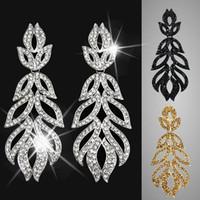 Wholesale Bijouterie Earrings - Big Silver Crystal Statement Earrings for Women leaf rhinestone drop earings fashion jewelry bijouterie womens dresses ers-g91