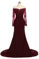 Wholesale white bridesmaid buttons online - Fashion Dark Red Off the shoulder Long Prom Dress Cheap With Illusion Lace Sleeves Mermaid Chiffon Beaded Bridesmaid Evening Party Wear