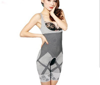 Wholesale body training suit resale online - hot Natural Bamboo Slimming Body Suit Shaper Firm Control Anti Cellulite Underwear Full Body slimmer Shaperwear waist training