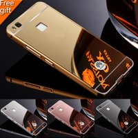 Wholesale Mini Mirror Frame - For Huawei P8 Lite   P8 mini P7 P8 Huawei P9 G7 G8 P9 lite Case Gold Plating Aluminum Metal Frame + Mirror Acrylic Cover