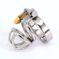 Wholesale Cock Ring Bra - Male Chastity Device Stainless Steel Cock Rings Short Cage Men's Virginity Lock Chastity Belt Cock Cage Adult Game Sex Toys