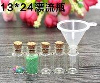 Wholesale Cheapest Bottle Stoppers - Cheapest 1ml Mini Clear Glass Bottle Vials Empty Sample Jars with Cork Stopper Message Vial Weddings Wish Bottles