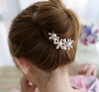 Wholesale Type Hair Clips - Beautiful Faddish Type U Bridal Hairpins Pearl Rhinestone Wedding Hair Accessories Bride Jewelry Hairdress Wedding Supplies