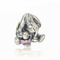 Wholesale enamel animal bracelets online - 2018 Spring New Eeyore Charms Beads Original Sterling Silver Jewelry Enamel Animal Donkey Bead DIY Brand Logo Bracelets Accessories