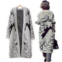 Wholesale Thick Sweater Jackets - Women Long Sleeve Sweater Knitted Cardigan Abstract Pattern Print Thickening Batwing Sleeve Sweater Outwear Jacket Coat WKS0022