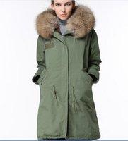 Wholesale Long Luxurious Fur Coat - grey fur 2016 Mr & Mrs Furs long army coats with rabbit fur lined Luxurious Fur Coats Mr & Mrs itlay long canvas parkas