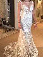 Wholesale chic sheath wedding dresses online - Jewel Sleeveless Mermaid Lace Applique Illusion Zipper Sheath Applique Sexy Elegant Wedding Dresses Custom Made Chic