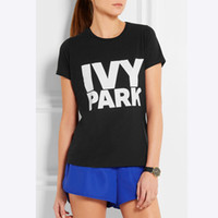 beyonce t shirt toptan satış-Toptan-Beyonce Kadın T Shirt Giysi IVY Parkı Mektubu Baskı Tee Tops 2016 Yaz Kadın T-Shirt Pamuk Camiseta Mujer Tshirt QA1050