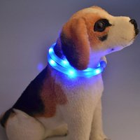 Collari per cani LED per collari Collari di sicurezza per cani Pet Collana incandescente Lampeggiante pet dog cat Guanti Prodotti per animali domestici ricaricabili impermeabili B-007