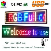P10 SMD Outdoor Full Color LED sign 40X8 polegadas USB Informações de rolamento programáveis ​​1000x200MM LED Display Screen