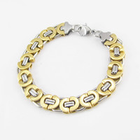 Wholesale Wholesale Silver Chain Byzantine - Classic Length 21.5 cm Wide 11mm Fashion Men's Jewelry Stainless Steel Silver Gold Byzantine Bracelet