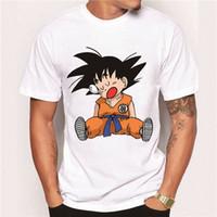 Wholesale Men Anime - 2017 Men's Clothes Fashion Japan Anime Dragon Ball Z T Shirt Super Saiyan Printed shirt Son Goku Tee Hipster Hot Tops