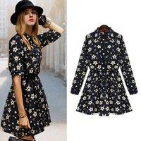 Wholesale European Summer Mini Dress - Plus size New 2016 Summer Autumn Women Cotton dresses European Star printed Casual A line Slim Mini Dresses Shirts T shirts 3XL