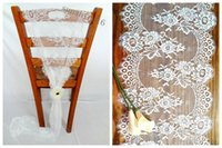 Wholesale Sash Lace Chair Wholesale - 36*300cm Jacquard Lace Wedding Chair Sashes Back Covers Bows Table Runners Home Garden Decor New Classic Europe Party Event Decoration 2016