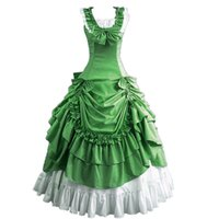 robe victorienne de taille plus verte achat en gros de-Costumes d'Halloween Verts pour Femmes Adulte Robe Victorienne Sud Robe de Ball Gothic Lolita Dress Plus Size Customized