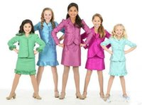 Wholesale Interview Suits For Girls - 2017 Formal Pageant Dresses Interview Suits Big Girls For Three Buttons Capped Cuff Hem Ruffles Little Kids Girls Pageant Interview Suit