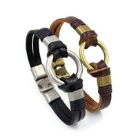 Wholesale Simple Silver Rings For Men - New Charm bracelets for Men Punk Metal Ring Cowhide Bracelet Retro Circle Geometric Business Simple Bangle Prsonality