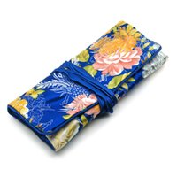 Wholesale Large Jewelry Roll Bag - Large Travel Jewelry Roll Gift Bag Set Packaging Case Pretty Silk brocade 3 Zipper Pouches and Ring Pack and one Drawstring Storage Bags