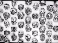 Wholesale Gothic Free Shipping - Free Shipping Mixed 30pcs Top-quality Gothic Punk Assorted Wholesale Lots Skull Style Bikers Men's Vintage Tibetan Rings