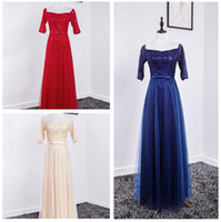 Wholesale Square Corset - Elegant Red Lace Long Formal Evening Dresses 2016 Cheap Floor Length Blue Tulle Corset Prom Party Gowns Custom Made under 100 Real Images