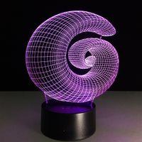 ingrosso cerchio cerchio chiaro-2016 vendita all'ingrosso di Dropshipping della scatola di trasporto di vendita al dettaglio della batteria di CC 5V USB della luce notturna di notte della lampada di illusione ottica 3D del cerchio