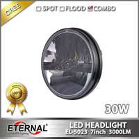Wholesale Cj Free - free shipping round 7in 60W JEEP JK CJ TJ YJ motorcycle sealed LED headlight offroad 4x4 vehicles driving headlamp