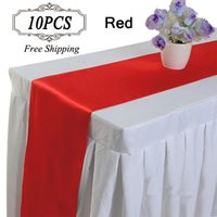 Wholesale Table Runners Satin Free Shipping - Free Shipping 10PC Table Runner Satin Table Runners for Wedding 12X108 inch Satin Ribbon Cloth Table Runner Flag of Wedding Banquet Decors