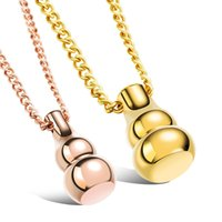 Wholesale Gourd Necklace Pendant - New arrival fashion jewelry stainless steel gourd pendant lovers necklaces free shipping
