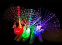 Wholesale Glowing Led Arrow - CCX LED Light Up Toy Glow flash peacock finger light gift Novelty Optical Fiber Colorful light finger lights toys Arrows 1500pcs lot