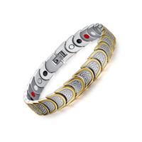 bracelets de santé de qualité achat en gros de-Tendances Raffiné Qualité Bio Santé Hommes Bracelet Bracelet En Acier Inoxydable Soins Magnétiques Bijoux Or Couleur Balance Bracelets Bracelets B862S