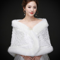 Wholesale white real fur wrap - Real pictures Elegant Faux Fur Bridal Wraps Women Shawl For Special Occasion White Cheap Wedding Shawl Free Size for Winter