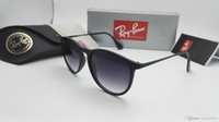 Wholesale Glass Ray - New Classic Erika Sunglasses Men Women RAY Round Band Chris M8 Glass UV protection Ben Lenses BANS Sun Glasses 4171 with cases
