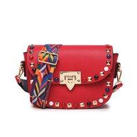 Wholesale Nylon Ribbon Designs - Promotion Price PU Leather Women Crossbody Bags Fashion Color Rivet Design Women Shoulder Bags Color Shoulder Strap Ladies Bag RED BLACK