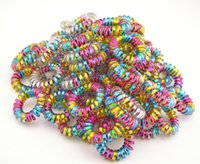 Wholesale Colorful Hair Elastic - Wholesale 100 Pcs Colorful Telephone Wire Cord Line Gum Holder Elastic Hair Band Tie Scrunchy 3.5cm Hair Accessory