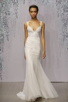 Wholesale Monique Lhuillier Wedding Mermaid Lace - 2016 Monique Lhuillier Wedding Dresses Mermaid V-Neck Lace Appliqued Bridal Gowns Sweep Train Tulle Long Wedding Dress
