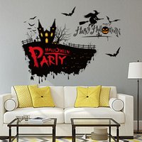 Wholesale Vinyl Decal Witch - 3041 Halloween Horror witch on the broom Decor Decals for Walls Decal Murals Halloween Wall Sticker Home Party Accessories