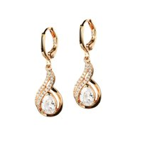 Wholesale LSL Jewelry Fashion Jewelry K Gold Plated Inlaid CZ Diamond Accessories Women s Drop Earrings Simple Style Gift for Girl FKE658