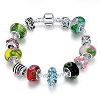 Wholesale christmas rhinestone transfers - Multicolor Murano Glass Handmade Elegant Transfer Beads Bracelet European Beads Fit Snake Chain DIY Jewelry for Women Beauty Christmas Gifts