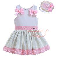 Wholesale G Double Neck - Pettigirl Lastest Boutique Summer Girls Jacquard Lace Hem Dresses With Headwear Double Pink Bows Decoration Children Clothes G-DMGD906-780