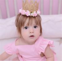 Wholesale Elastic Band Crown - New Baby girls Lace Tiara headbands Rose Flower Head Bands Kids Elastic Hairbands Children Hair Accessories Crown Headdress KHA81