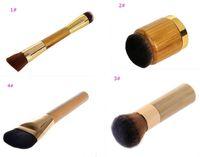 dhl косметическая распродажа оптовых-горячая продажа 4 стили косметика макияж кисти пудра основа макияж кисти с бамбуковой ручкой DHL Бесплатная доставка