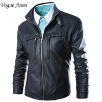 Wholesale- New Leather Jacket 2016 Fashion Mens diagonale Zipper Slim Black Pu giacche in pelle da uomo di marca Biker Jacket