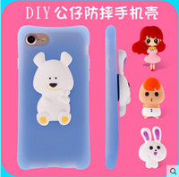 Wholesale Doll Silicone Case - 2016 New Arrival Cartoon Doll Silicone Protective Case For iphone 7, For iphone 4.7 5.5 Cute Love Couples Fall -resistant Case