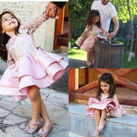 Wholesale Mini Wedding Dresses Bow - 2017 New Pink Long Sleeves Flower Girl Dresses For Weddings Backless Appliqued Kids Pageant Gowns Knee Length Party Communion Dresses